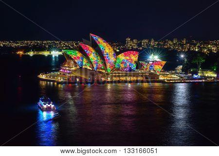 Sydney, Australia - June 6, 2016, Sydney Opera House Illuminated With Colourful Light Design Imagery