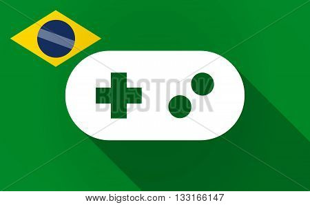Long Shadow Brazil Flag With A Game Pad