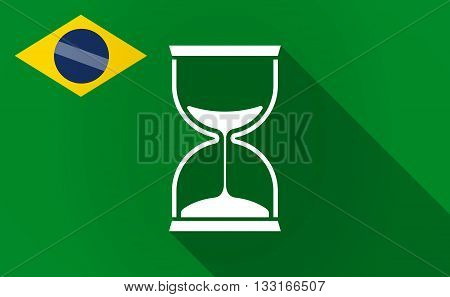 Long Shadow Brazil Flag With A Sand Clock