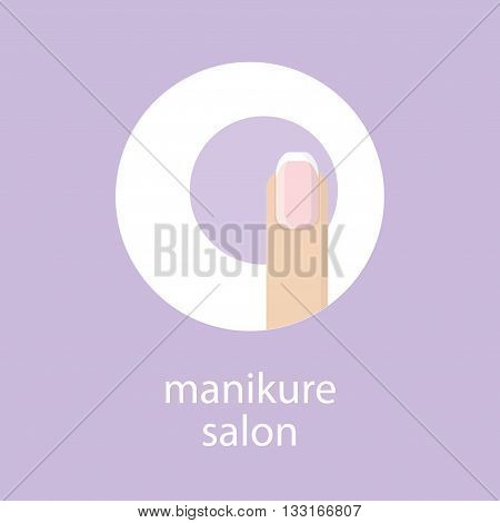 Manicure salon. Banner emblem or logo of your nail salon. Image fingers with French manicure in a circle on purple background. Vector illustration.
