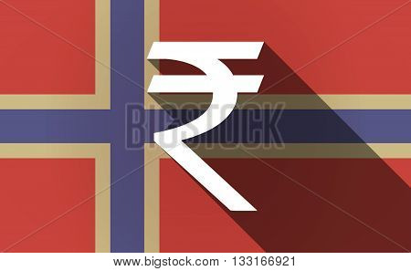 Long Shadow Norway Flag With A Rupee Sign