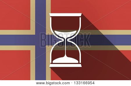 Long Shadow Norway Flag With A Sand Clock