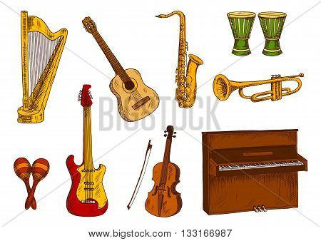 Retro colored sketches of saxophone and trumpet, acoustic and electric guitars, violin, piano and harp, african conga drums and mexican maracas. Ethnic and classic musical instruments for music concert and entertainment design