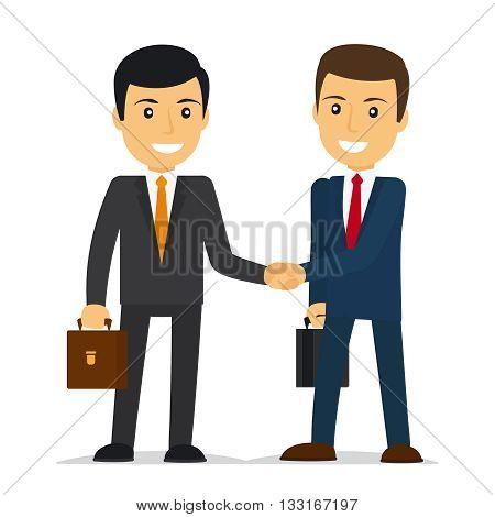 Businessmen shaking hands and smiling. Vector illustration