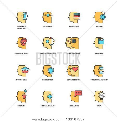 People brain thinking, mental health outline icons with flat elements. Head human and brain process human. Vector illustration