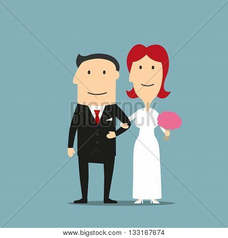 Happy smiling cartoon newly married couple are standing arm in arm. Lovely redhead bride in white wedding dress with flowers in hand and elegant groom in black tuxedo. Great for wedding ceremony, invitation or bridal salon design usage