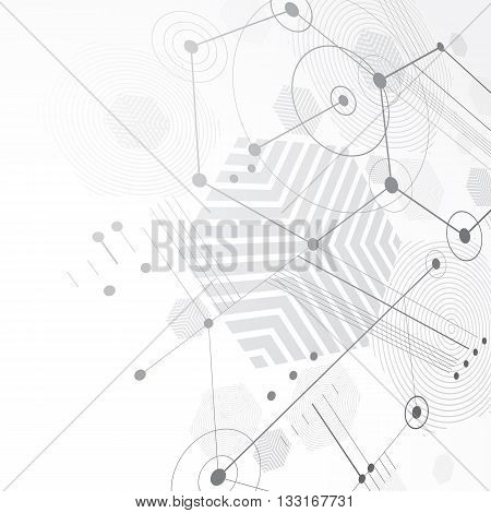 Bauhaus retro perspective black and white art vector background made using lines and honeycombs.