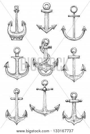 Vintage engraving sketches of nautical ships anchors with twisted rope. Use as navy heraldry, marine themed tattoo and yacht club design