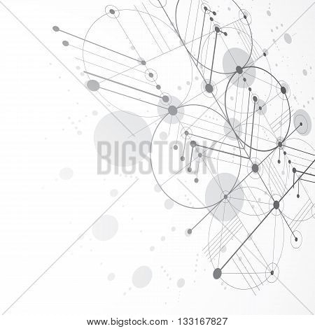 Bauhaus retro monochrome art vector background made using grid and circles. Geometric graphic 1960s illustration can be used as booklet cover design.