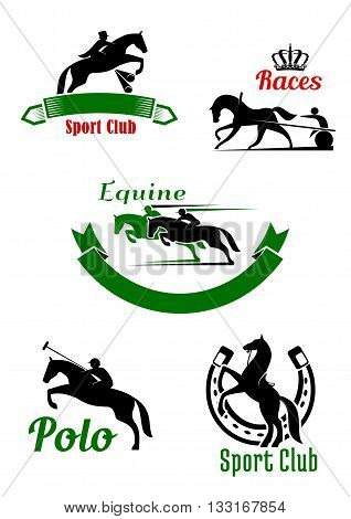 Equestrian sporting symbols with black and green silhouettes of running, jumping and rearing up horses with riders and two wheeled cart decorated by horseshoe, ribbon banners and crown