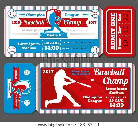 Vintage baseball, sports vector tickets set. Baseball ticket and banner sport ticket game illustration