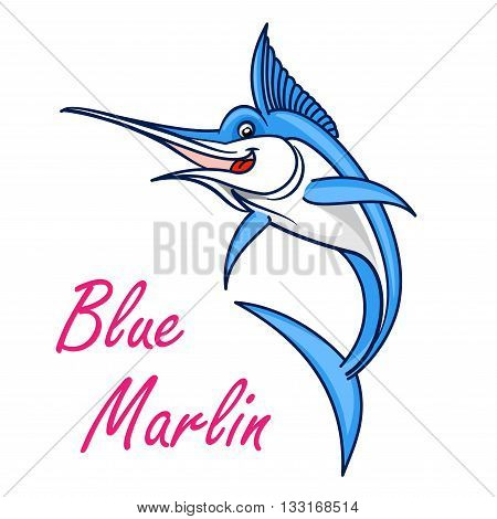 Atlantic blue marlin cartoon symbol of game fish with long, lethal spear shaped upper jaw. Sporting fishing emblem or oriental seafood design usage