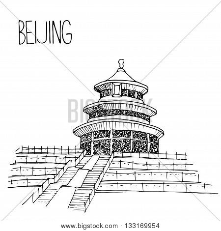 Hand drawn Temple of Heaven in Beijing, China. Simple sketch style. Black contour isolated on white background. Vector illustration.