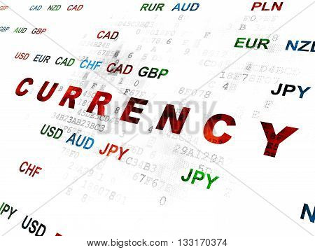 Money concept: Pixelated red text Currency on Digital wall background with Currency