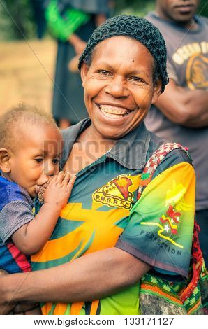 Happy Mother And Child In Papua New Guinea