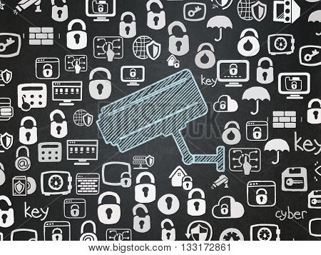 Safety concept: Chalk Blue Cctv Camera icon on School board background with  Hand Drawn Security Icons, School Board