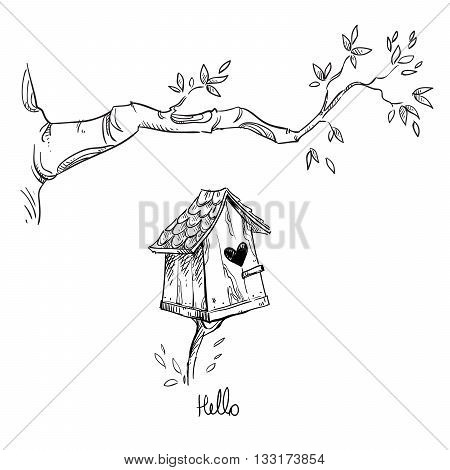 Birdhouse and the tree branch, vector illustration