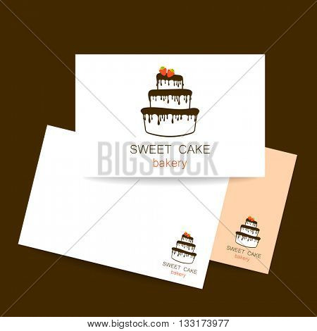 Sweet cake bakery shop logo template. Identity presentation. Logo for bakery. Logo design for confectionery, coffee shop, bakery shop. Vector illustration.