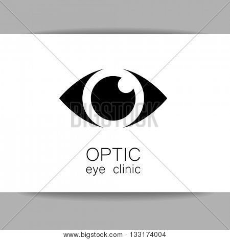 Ophthalmology business card. Optic eye clinic logo. Optic logo design template for medical care. Eye logo template. Idea for ophthalmic clinic or eye clinic. Vector illustration.