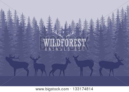 Vector illustration with trees and deer silhouettes