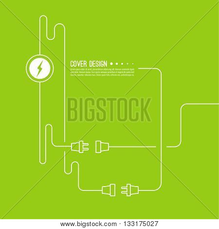 Abstract background with wire plug and socket. Concept connection, disconnection, electricity. Icon wire plug