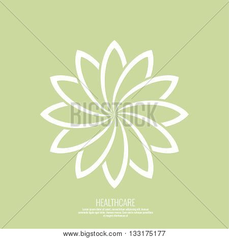 Abstract vector logo element. Lotus flower. Icon for beauty, healthcare, wellness, fashion, cosmetic, perfume, yoga emblem, herbal product, spa, massage salon. delicate color