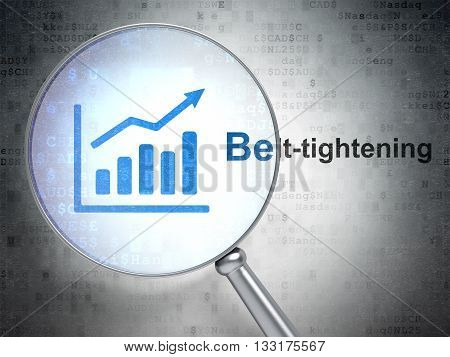 Finance concept: magnifying optical glass with Growth Graph icon and Belt-tightening word on digital background, 3D rendering