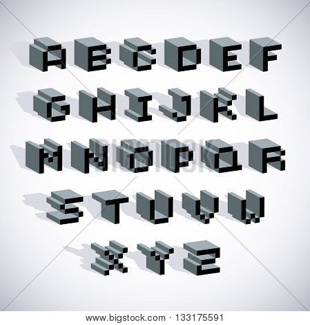 Cybernetic 3D Alphabet Letters, Pixel Art Vector Digital Typescript. Pixel Design Elements, Contempo