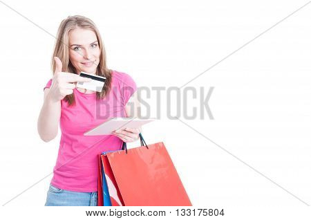 Beautiful Shopper Buying Things Or Doing Online Shopping