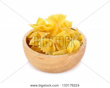 Farfalle (Bow Ties) pasta in big wooden bowl on white background