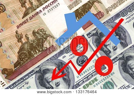 Red percent sign on a background of money .