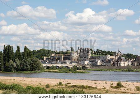 The Chateau d'Amboise rises above the Loire river