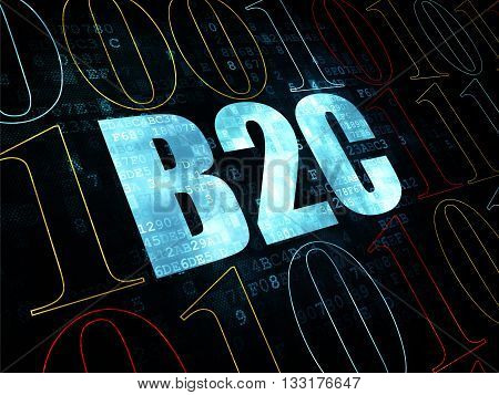 Finance concept: Pixelated blue text B2c on Digital wall background with Binary Code