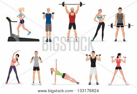 Sport gym people set with dumbbells, barbells and fitness tools. Man and women fitness