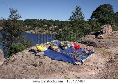 Tarahumara raramuri made souvenirs in display by Lake Arareco in the Copper Canyons Chihuahua Mexico