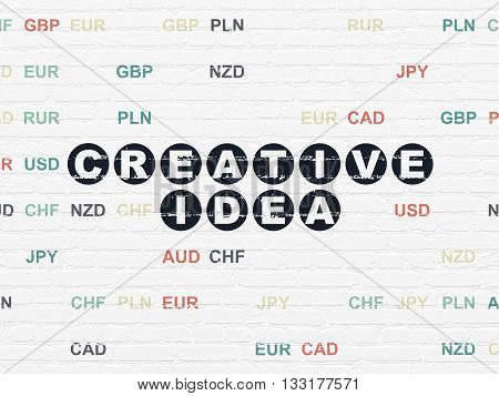 Business concept: Painted black text Creative Idea on White Brick wall background with Currency