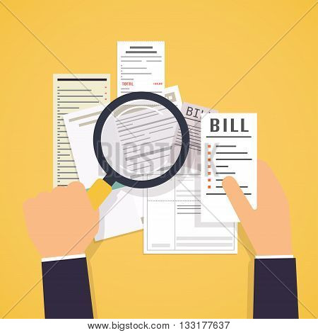 Paying Bills. Hands Holding Bills And Magnifying Glass. Payment Of Utility, Bank, Restaurant And Oth