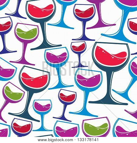 Winery theme vector seamless pattern decorative stylish wine goblets.