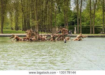 VERSAILLES,FRANCE - MAY 12, 2013: This is one of the most famous fountains in the park of Versailles - Fountain of Apollo.