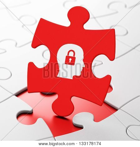 Business concept: Head With Padlock on Red puzzle pieces background, 3D rendering
