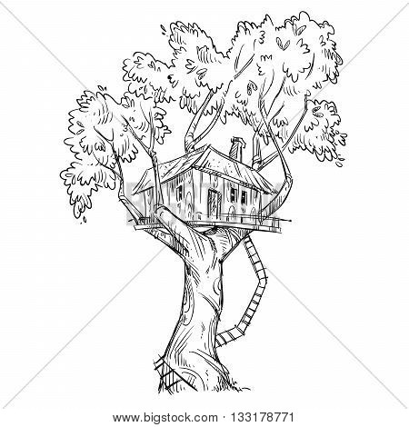 Treehouse. Hand drawn, vector illustration eps 10