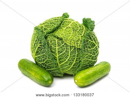 beauty Savoy cabbage isolated on white background