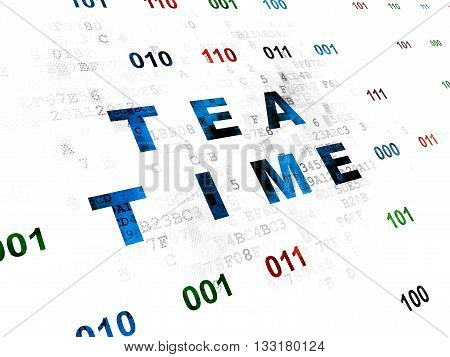 Time concept: Pixelated blue text Tea Time on Digital wall background with Binary Code