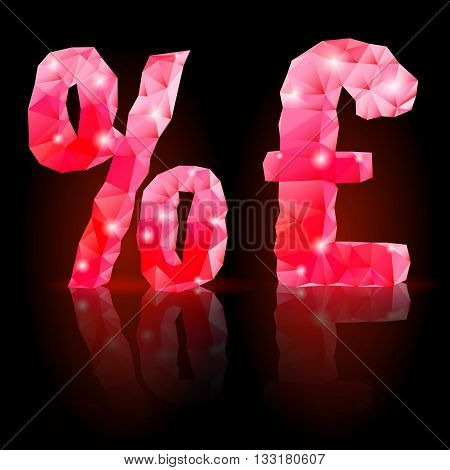 Shiny ruby polygonal font with reflection on black background. Crystal style per cent and pound sterling signs