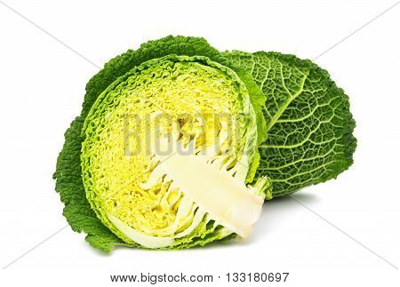 savoy cabbage sliced isolated on white background