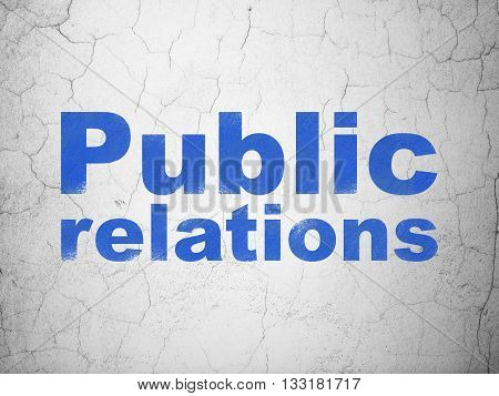 Marketing concept: Blue Public Relations on textured concrete wall background