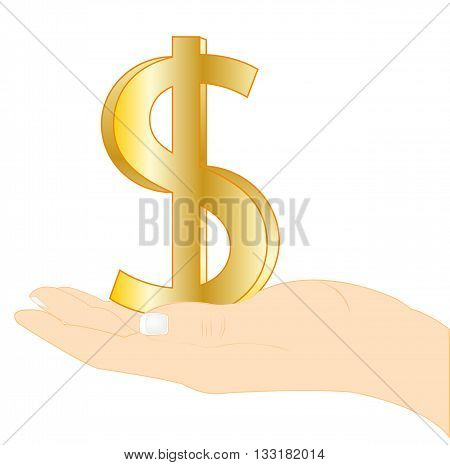 Palm keeping sign dollar on white background