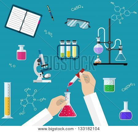 Science Experiment or chemistry laboratory. Research, testing, studies in chemistry, physics, biology. Hands of doctor with pipette and test tube. Desktop research. Vector illustration, flat design.