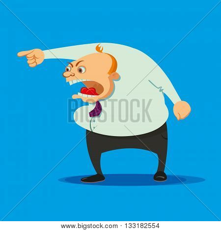 angry boss swearing on a blue background