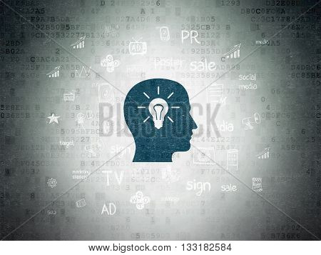 Advertising concept: Painted blue Head With Light Bulb icon on Digital Data Paper background with  Hand Drawn Marketing Icons